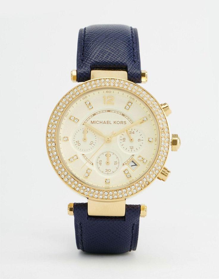 Super lækre Michael Kors Parker Blue Leather Strap Watch MK2280 - Navy Michael Kors Ure til Damer til hverdag og fest