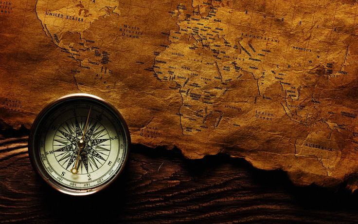 Old Map And Compass (id: 21219) | WallPho.com