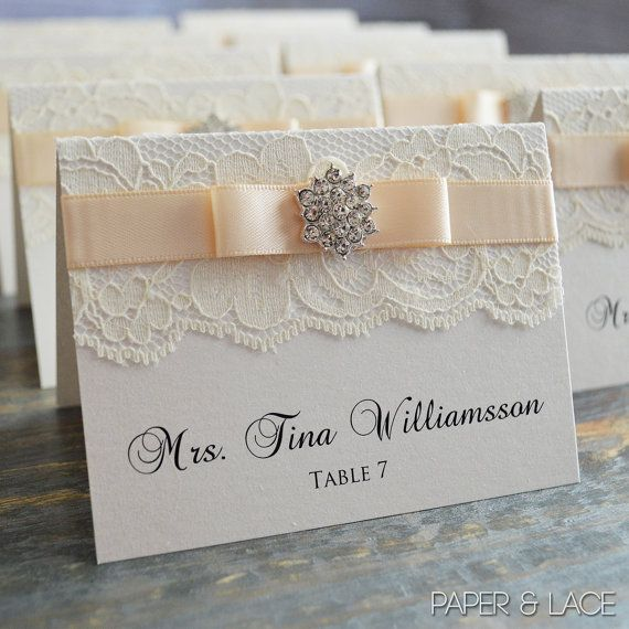Crystal Place Cards - Lace Escort Cards - Vintage Table Cards - Couture Name Cards - Ivory or White Lace with Crystal Snowflake Button