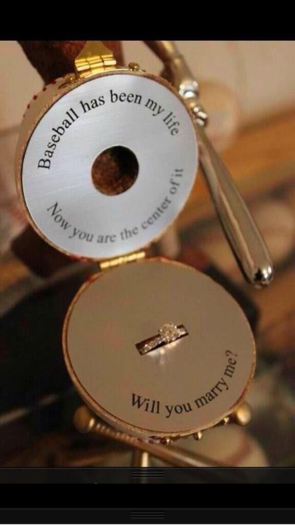 Baseball Proposal Couple Cute DIY Wedding Marriage Bride