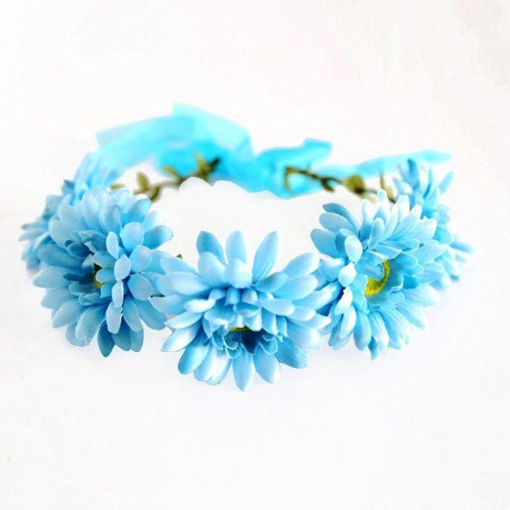 Flower Crown Festival Headband Wedding Bridal Floral Garland Hairband For