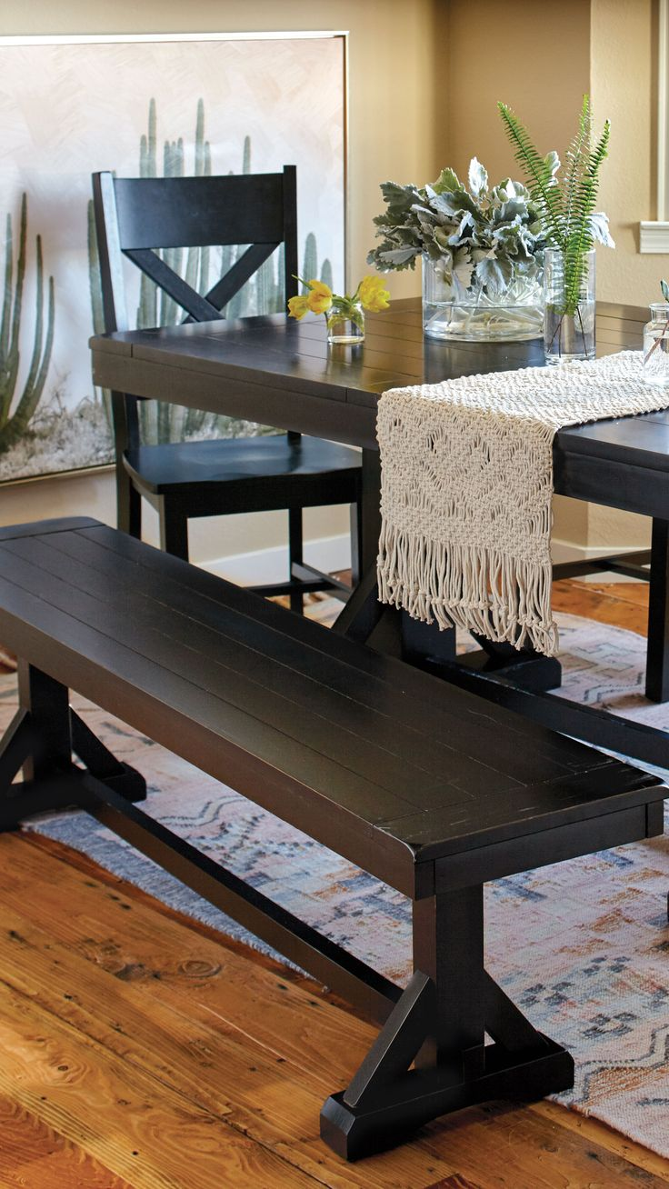 With a plank top and distressed finish, our classic