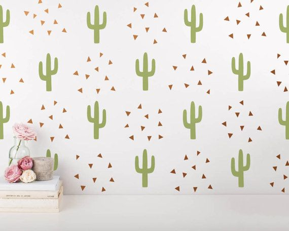 Cactus and Triangle Wall Decals  2-Color Wall by KennaSatoDesigns