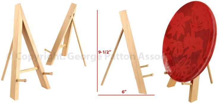 """Natural+Finish+Solid+Wood+Tabletop+Display+Easel+With+(2)+1.25""""+Pegs+"""