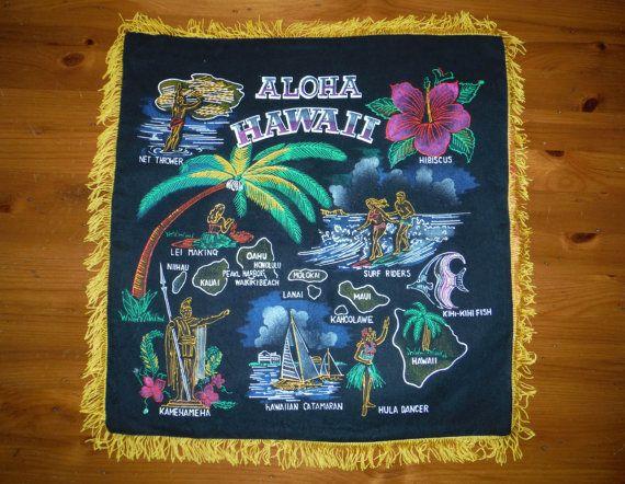 Taie d'oreiller souvenirs Hawaii Vintage Vintage - Groovy 1970