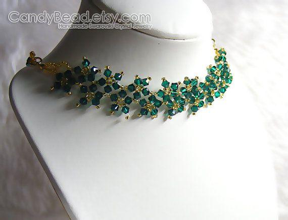 Collana di cristallo Swarovski dolce smeraldo e oro di candybead
