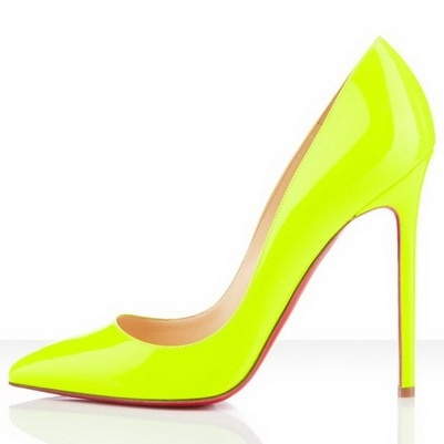 Christian Louboutin Pigalle 120mm Patent Leather Pointed Toe Pumps Yellow