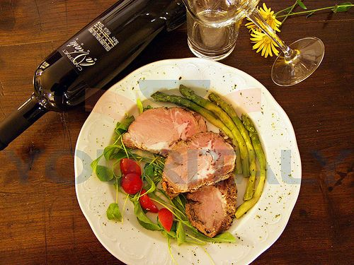 What you'd see on a typical night out in one of Friuli's many elegant restaurants: gorgeous food and a bottle of excellent wine!
