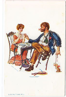 Woman Giving Man Manicure Postcard  **How to give your man a man's manicure, a man's facial, and fix his hair for him like you do for your dog.**