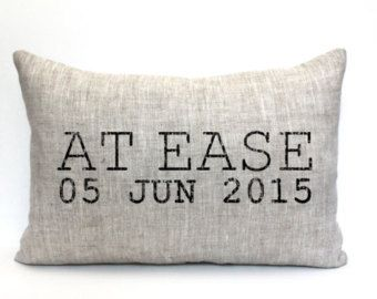 at ease pillow phrase pillow military retirement gift by coverLove