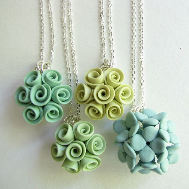 Petal Pouf  Handcrafted polymer clay. Roses & hydrangea pendant on chain.   $45 and $55