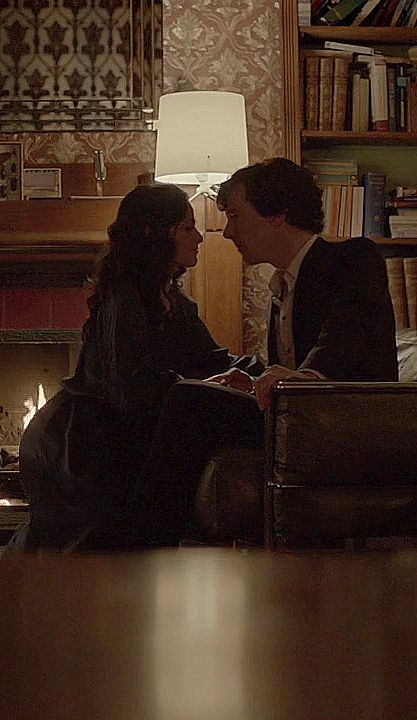 #Sherlock and Irene - A Scandal in Belgravia You can actually see him leaning in here. I always wonder about wether they actually would have kissed if mrs Hudson hadn't walked in...
