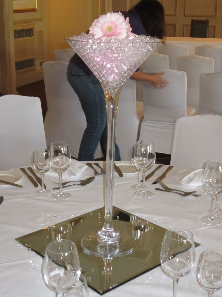 Tall martini vase of gerberas and lit gel beads for Decoration vase martini