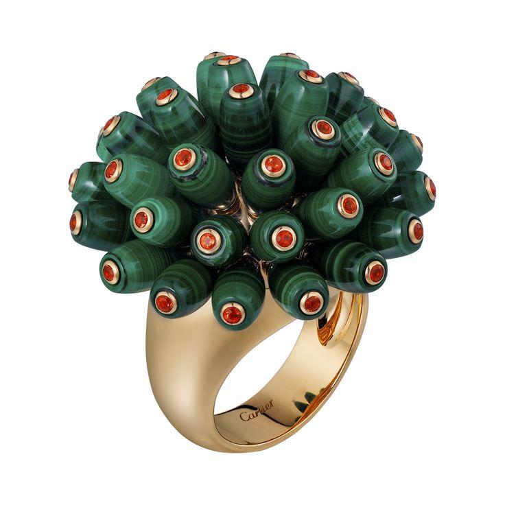 Paris Nouvelle Vague ring - Pink gold, malachites, fire opals - Fine Rings for women - Cartier