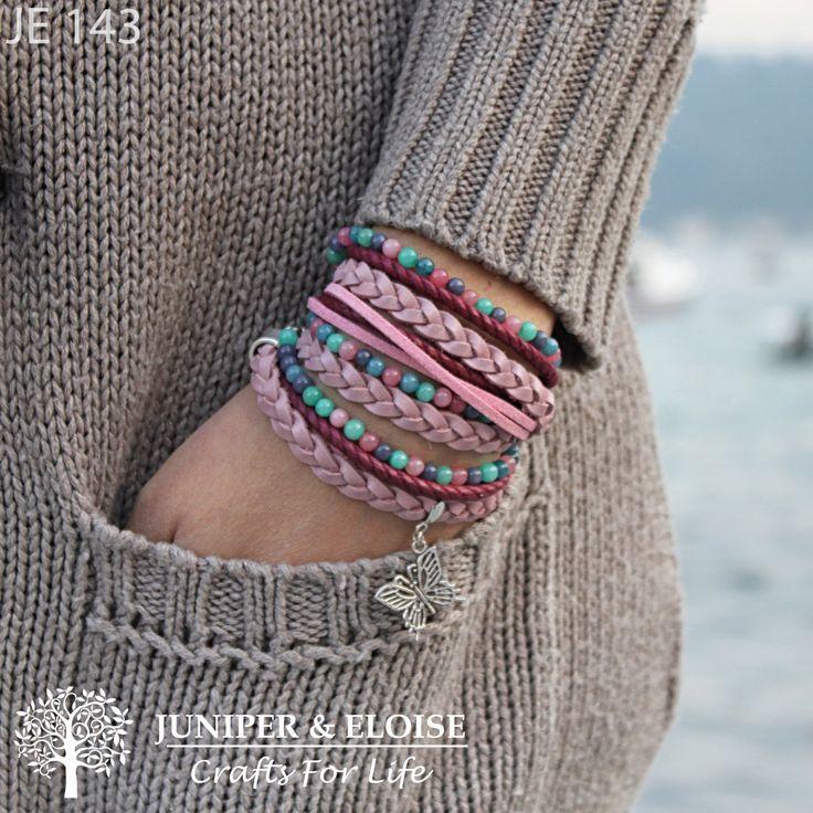 Womens Colorful Triple Wrap BOHO Bracelet with Pink Braided Leather, Beaded Bracelet ,  Bracelet For Women , Gift For Her ,Bohemian Bracelet by JUNIPERANDELOISE on Etsy