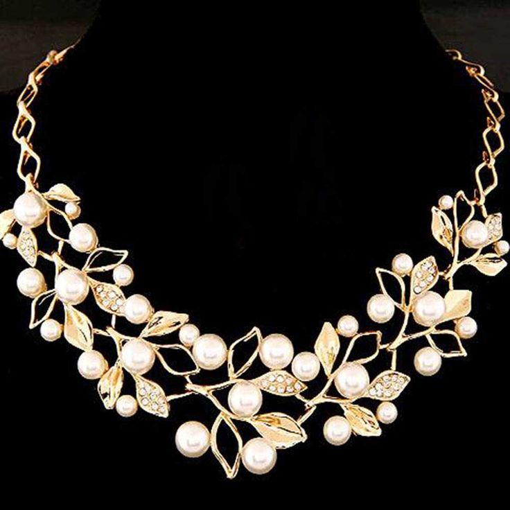 Symulowane Pearl Naszyjniki Pozłacane Liście Komunikat Naszyjnik Kobiety Collares Biżuteria Etniczna dla Spersonalizowane Prezenty