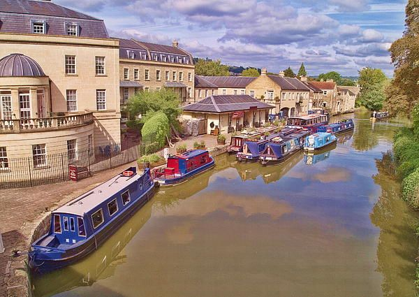 """""""Sydney Wharf"""" Barges moored at the wharf in the Roman city of Bath. Art work for sale in various formats and sizes - see my web site for details and other work http://paul-gulliver.artistwebsites.com/featured/sydney-wharf-bath-paul-gulliver.html #FineArtPrints #ArtForSale #Gifts"""