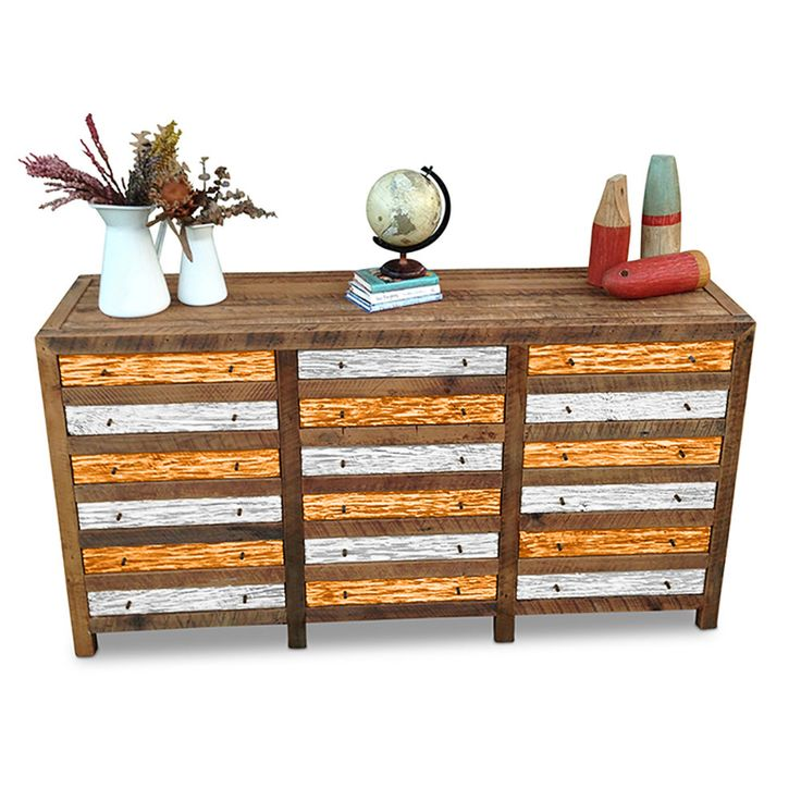 Vintage Industrial Retro Rustic Recycled Wood Cabinet / Sideboard / Buffet / Dresser with Graduated Drawers - Orange & White by GHIFY on Etsy https://www.etsy.com/listing/243816010/vintage-industrial-retro-rustic-recycled