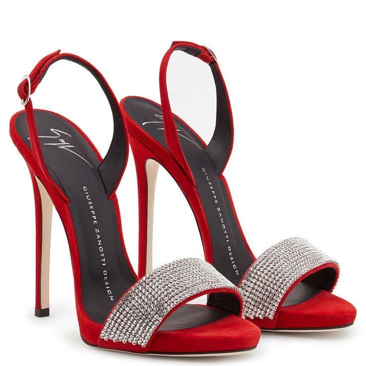 Sophie Crystal Sandals Red Giuseppe Zanotti Giuseppe Zanotti Design Online Store Red Shoes Sandals Fashion Heels Giuseppe Zanotti Heels