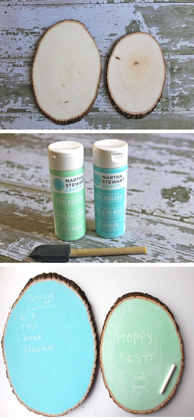 DIY :: tree trunk Chalkboard ( http://smashedpeasandcarrots.blogspot.ca/2012/04/rustic-chalkboard-easter-eggs-tutorial.html )
