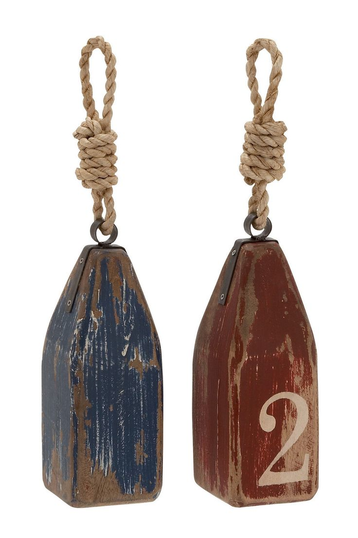 Set 2 Distressed Vintage Style Wood Decorative Pier Buoy Nautical Decor Blue Red