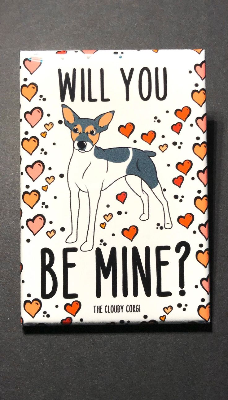 rat terrier valentine's day gift will you be mine  etsy