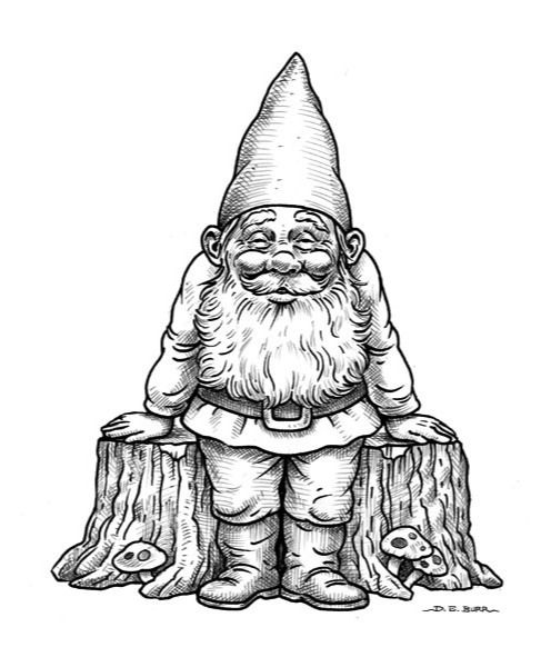 Standing gnome line art illustration the good life for Coloring pages gnomes