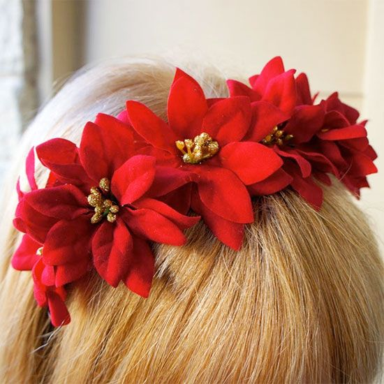 Make a fun holiday statement with this DIY Poinsettia Headband. A flower crown with a holiday twist!