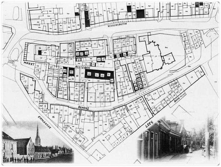 Oude plattegrond van Lemmer. Mijn opa is met een smederij op de Schans 40.