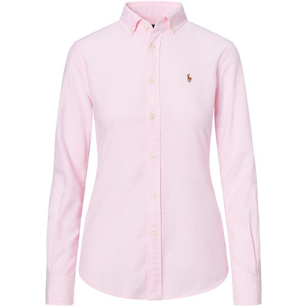 Slim Fit Cotton Oxford Shirt ($99) ❤ liked on Polyvore featuring tops, slim fit tops, oxford shirt, slimming tops, slim fit oxford shirt and pink oxford shirt