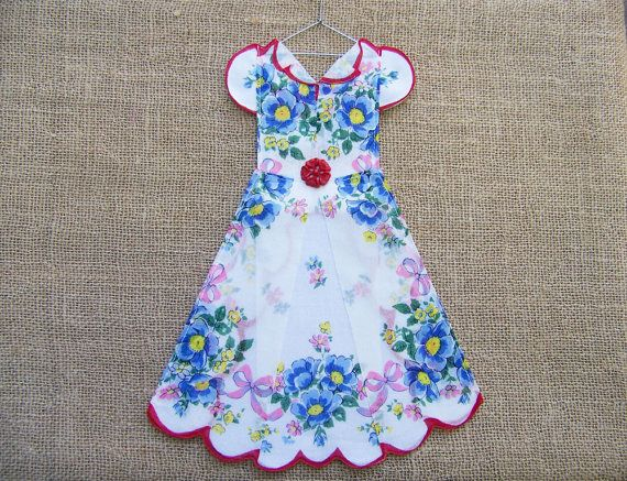 Charming Floral Hanky Dress with Red Scallop Edged by HankyDresses