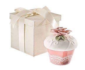 Contenitore in porcellana con rosa a rilievo Muffin - h 11 cm