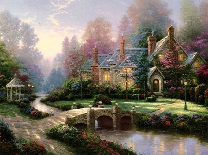 Thomas Kinkade Beyond Spring Gate Cross Stitch Pattern