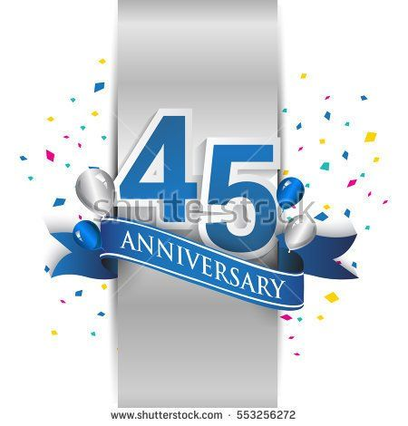 45th anniversary logo with silver label and blue ribbon, balloons, confetti. forty four Years birthday Celebration Design for party, and invitation card