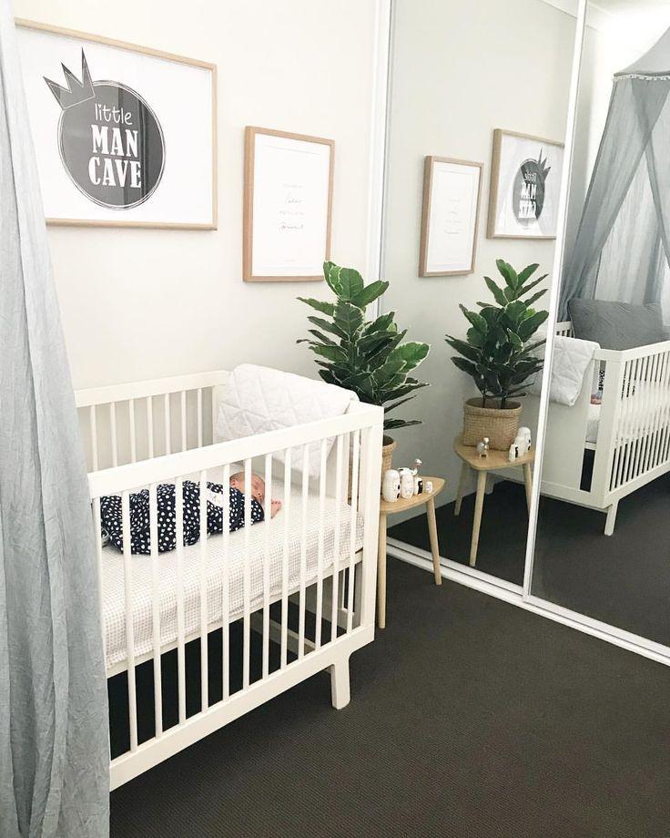 Grey white nursery, little man cave print, oeuf sparrow cot, adairs nursery, adairs kids, unisex nursery, grey white timber nursery, baby boy nursery, grey canopy, grey nursery