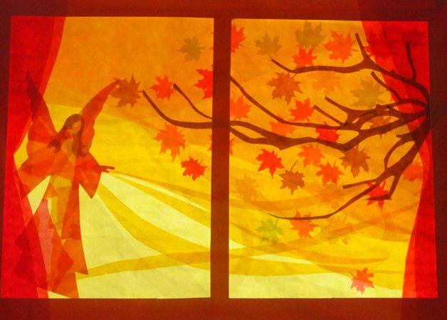 Handgemachte Foto-Grußkarte mit Umschlag. Foto ist von einer ursprünglichen Fensterbild  von der Blick aus einem Fenster eines Engels den Herbst weht Blätter weg von einem Baum. Das beigefügte...
