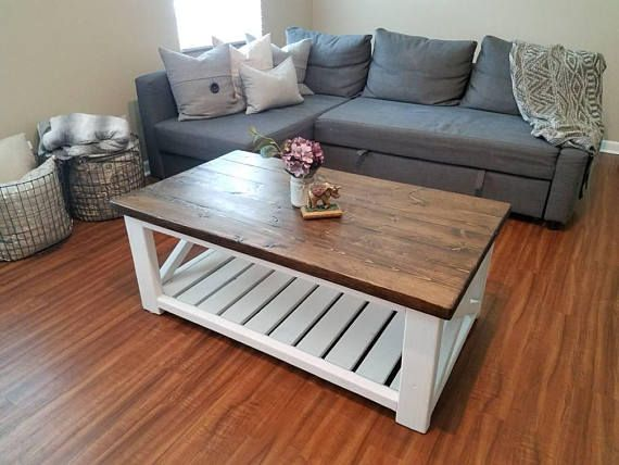 Farmhouse style coffee table rustic wood x