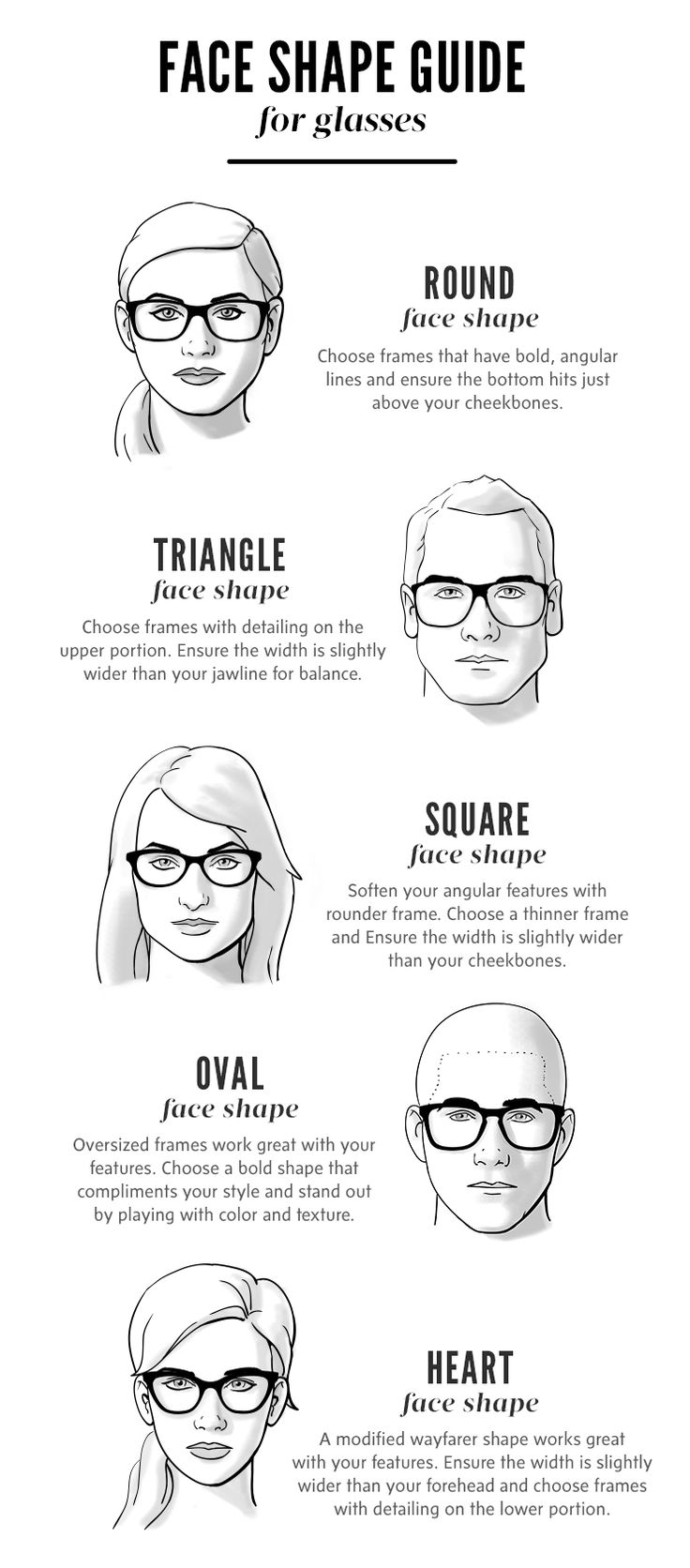 Glasses face shape guide