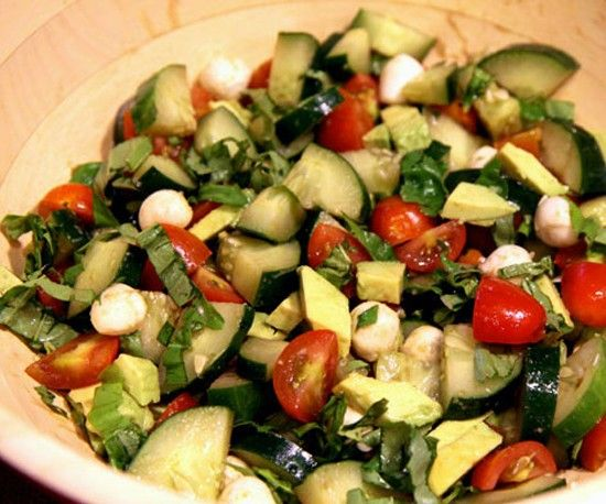 I could eat this every day. Cucumber, tomatoes, fresh basil, mozzarela, avocado, balsamic vinegar.