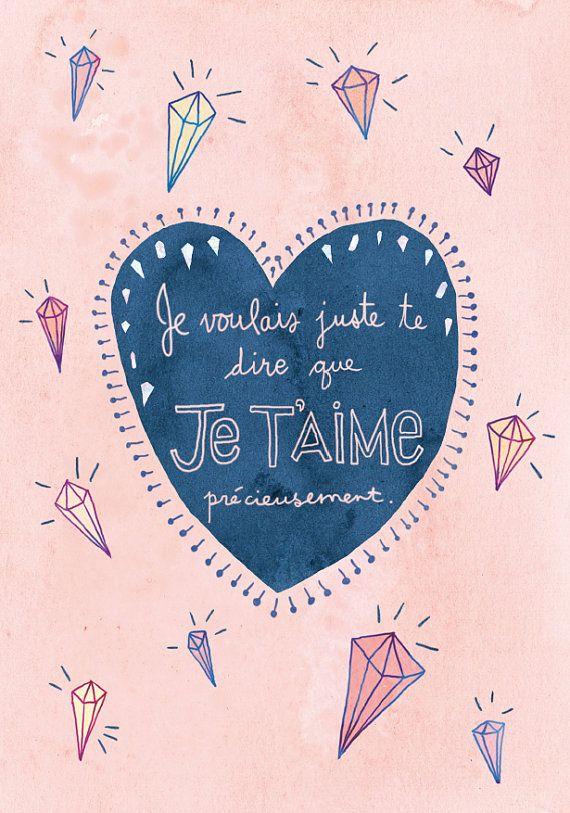 CARTE Dire je t'aime sans texte par Annickg sur Etsy Carte de St-Valentin #illustration