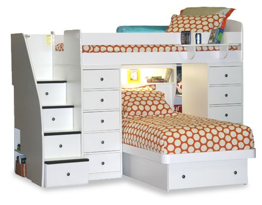 I love this because the stairs is a dresser, There is an extra bed and a bed on top, and a little book shelf in the corner. It might be a good idea to put a desk under the top bed instead of the extra bed