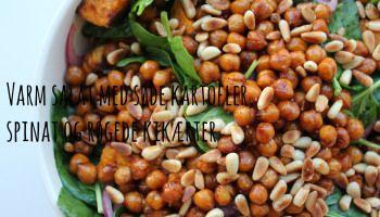Varm salat med søde kartofler, spinat og røgede kikærter