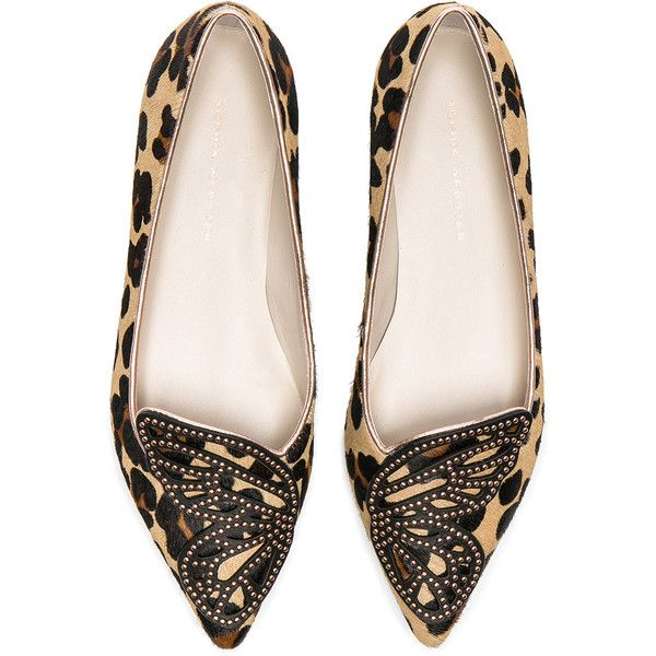 Sophia Webster Calf Hair Bibi Butterfly Leopard Flats ($545) ❤ liked on Polyvore featuring shoes, flats, leopard pony hair flats, flat pumps, leopard studded flats, leopard flat shoes and leopard print shoes