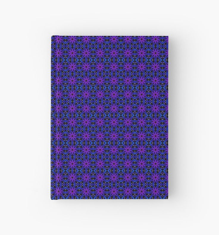 Flower Lino Print Pattern in Electric Blue Hardcover Journal by Terrella.  A seamless pattern reminiscent of a lino print flower.  This is the Electric Blue version. • Also buy this artwork on stationery, apparel, phone cases, and more.