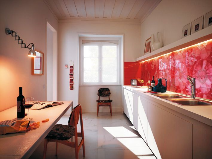 Interior Design, Bottle Wine Glass Wine Snack Chips Magazine White Table Wooden Chairs Unusual Floral Red Ceramic Tile Kitchen Backsplash Water Tap Frames Kitchen Cabinets And Wall Lamp ~ Wonderful Ceramic Interior On The Floor Design