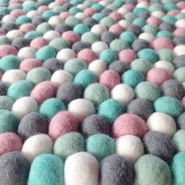 Felt Ball Rug in Pale Mint, Light Pink, Grey, White, Turquoise,