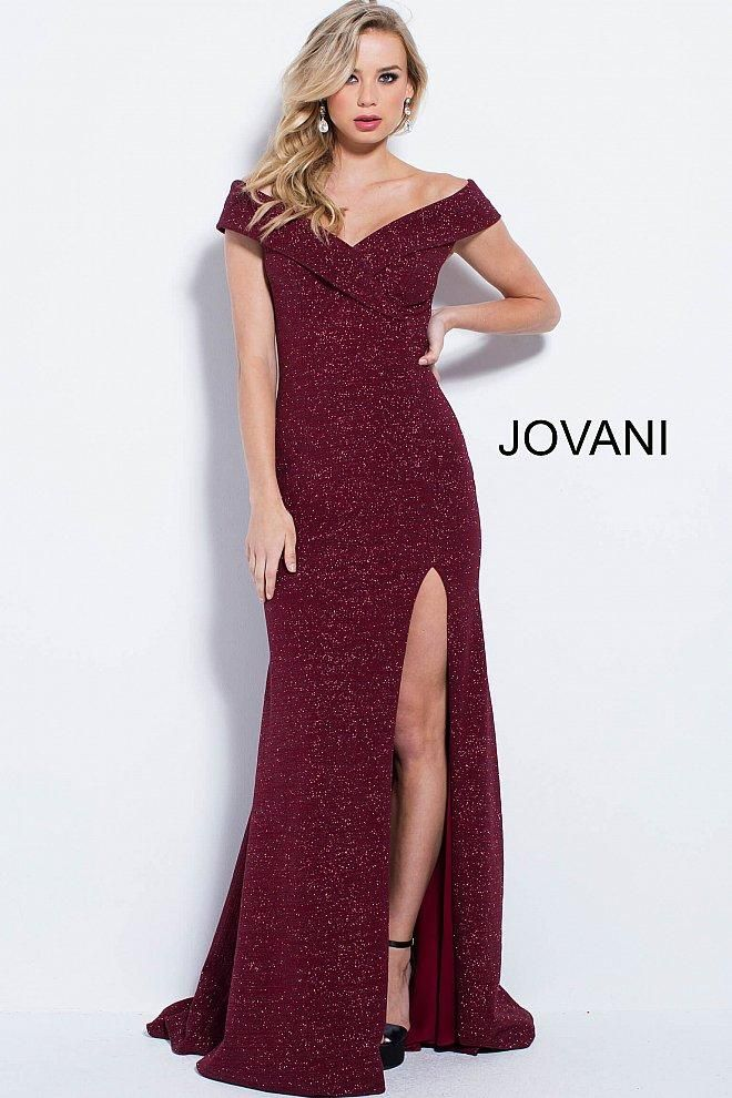 5e77686275d Jovani fitted sparkle jersey off the shoulder gown with a high leg slit