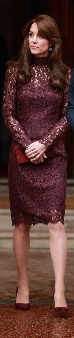 Kate Middleton In Dolce & Gabbana burgundy lace dress @roressclothes closet ideas #women fashion outfit #clothing style apparel maroon