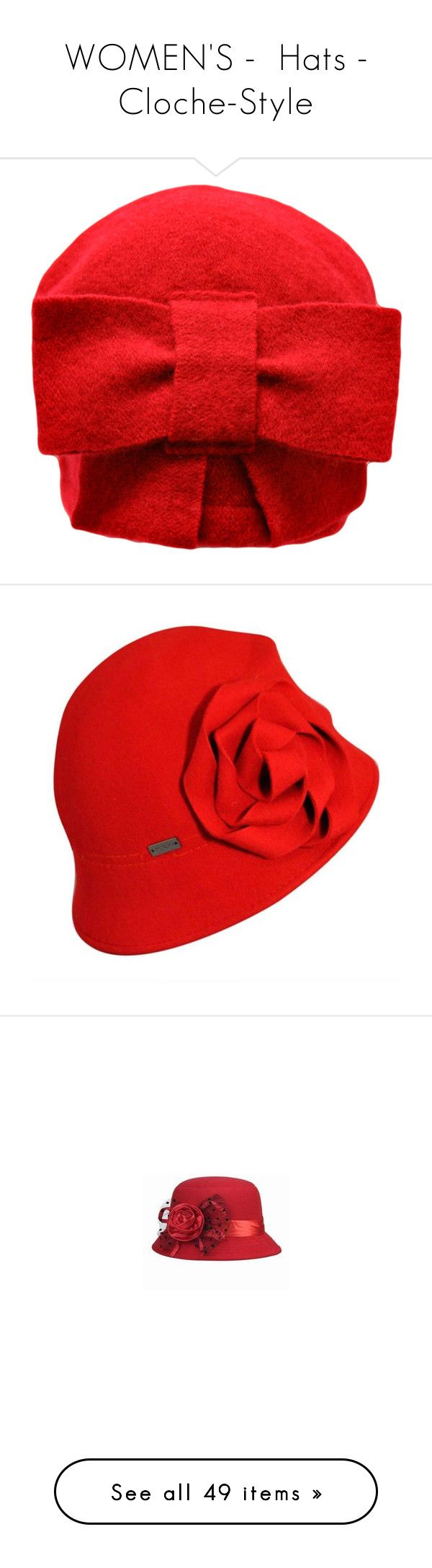 """""""WOMEN'S -  Hats - Cloche-Style"""" by kuropirate on Polyvore featuring accessories, hats, red, fisherman bucket hat, wool hat, fisherman hat, red bucket hat, bucket hat, scarlet and floral print hat"""