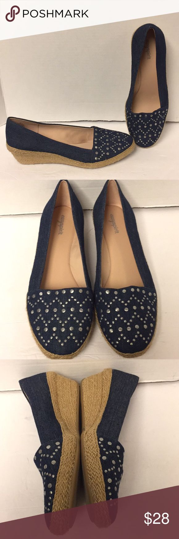 Easy Spirit Esdimone Espadrille denim wedge shoes Excellent condition, never worn, super cute silver embellishments on top. Smoke free home. Two darker spots on bottom of shoe from the factory, please see picture, this does not hurt shoe. Soft insoles. Easy Spirit Shoes Espadrilles